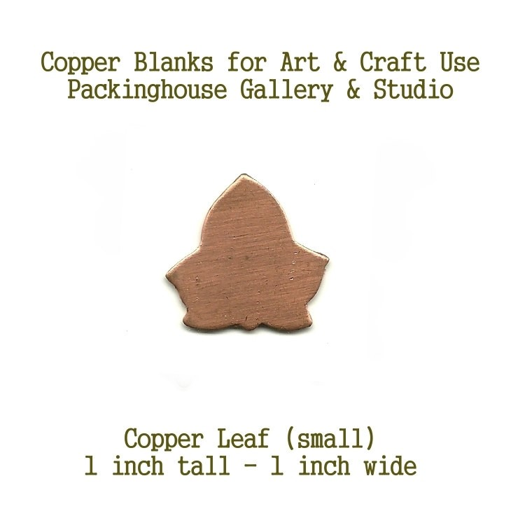 Ivy Leaf or London Planetree  (small size), Copper Metal pieces cut out of copper for metal working, enameling and jewerly making