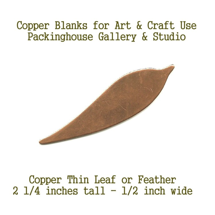 Thin Leaf or Feather copper metal blank, for metal working, enameling, etching, painting, leatherworking, engraving and jewerly making