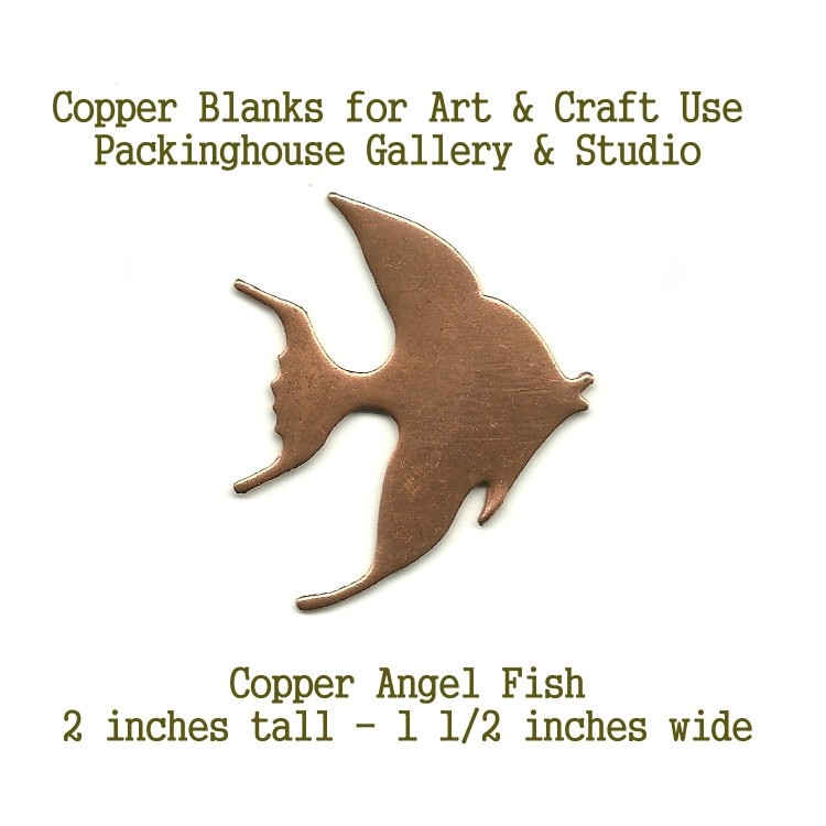 Angel Fish, Copper, shape made of copper for metalworking, enameling, etching, engraving, leatherworking and jewelry making