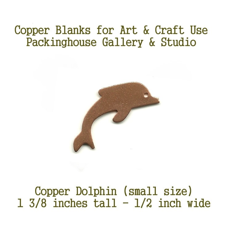 Dolphin Small Size, Copper Metal Blank Shape cut outs made of copper for metal working, enameling and jewerly making