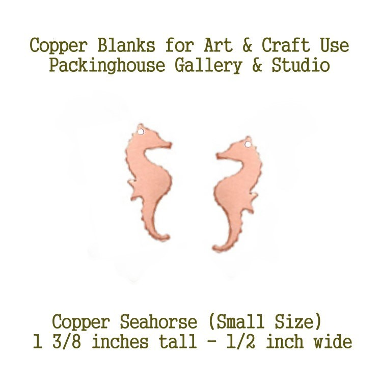 Seahorse Metal Blanks, for earrings, small size with Hole,  Metal Stamping Blanks, works will with enamel paints, torch, kiln fire