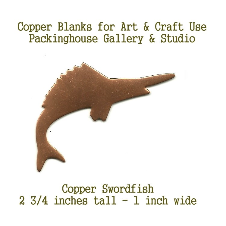 Swordfish,  Copper Metal pieces made of copper for metalworking, enameling, etching, engraving, leatherworking and jewelry making
