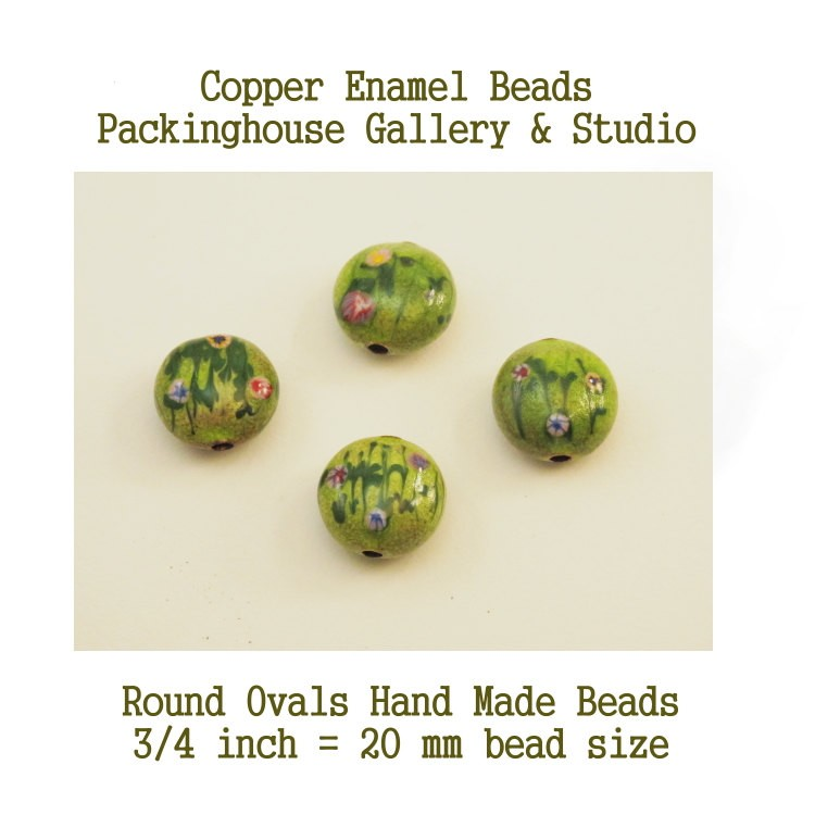 Hand Made Torch Fired Copper Enamel Beads Mixed Flower Colors