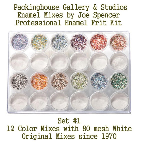 Professional Enamel Frit Kits, LARGE SIZE FRIT  (with white base) Enamel Glass Bead Frits, Original Enamel Mixes by Joe Spencer