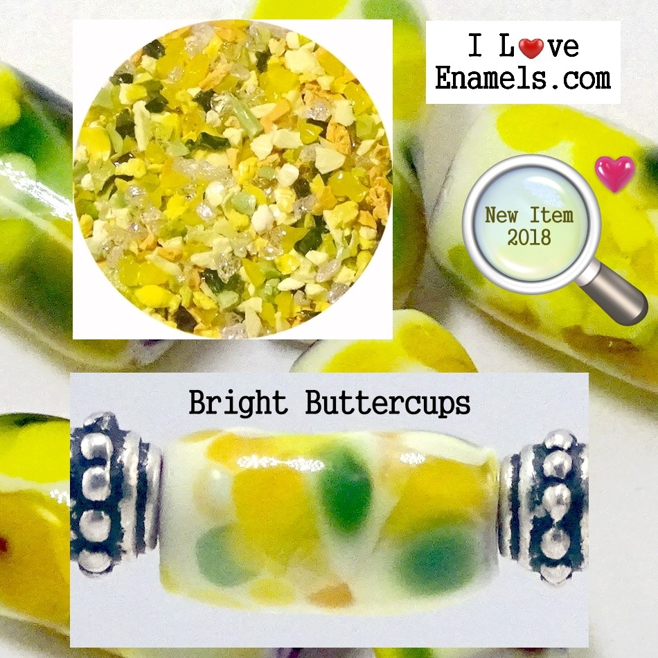 Bright Buttercups,  The Garden Flowers Collection,  Enamel Frit made by  I Love Enamels.com