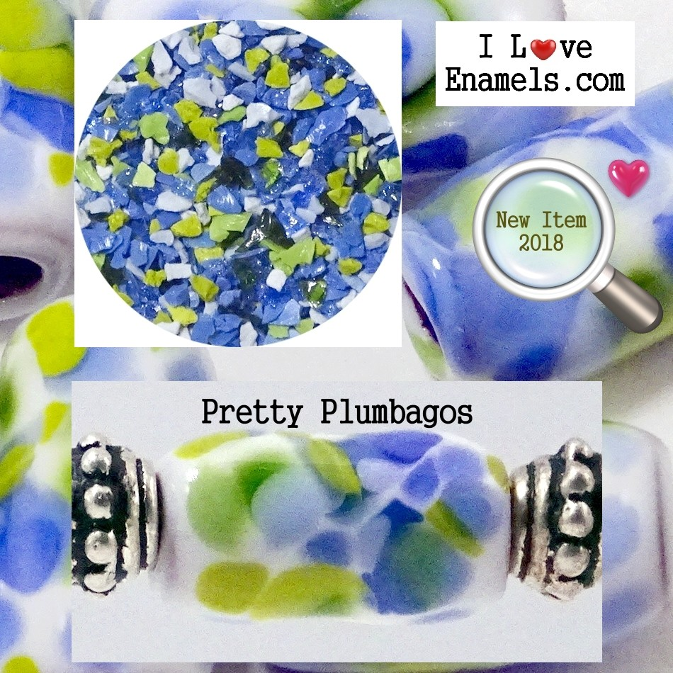 Pretty Plumbagos,  The Garden Flowers Collection,  Enamel Frit made by  I Love Enamels.com