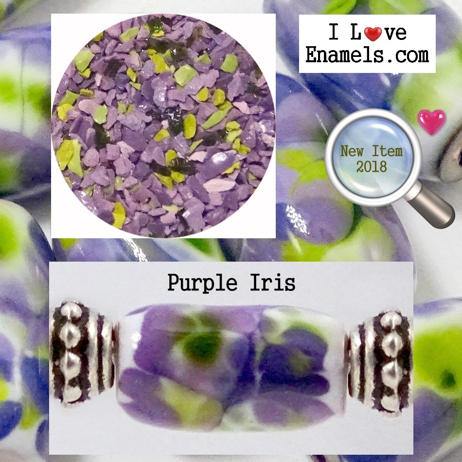 Purple Iris,  The Garden Flowers Collection,  Enamel Frit made by  I Love Enamels.com