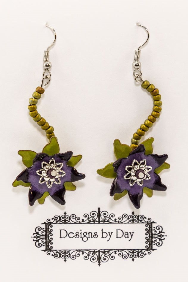 Water Lily Earrings (Handmade Torch Fired Enamel Beads)