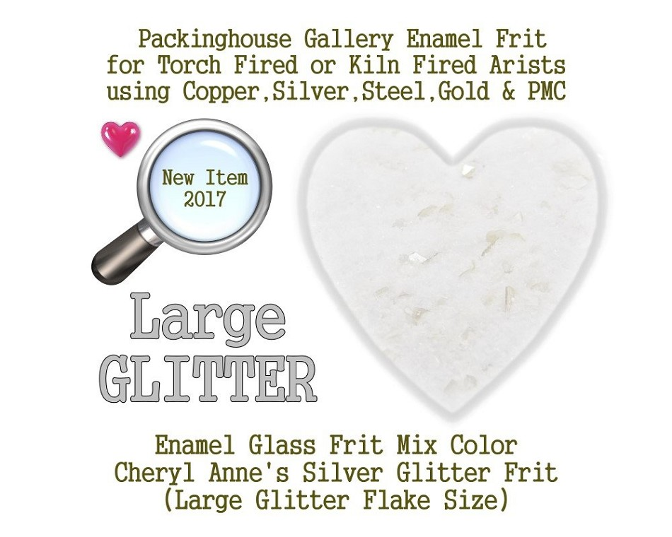 Silver Enamel Glitter Frit, Large Size Frit, Enamel Frit, Glass Frit, for Copper, Gold, Silver, PMC. Thompson Enamel, Packinghouse Gallery