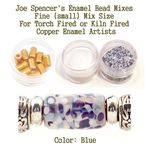 Blue  Enamel Bead Frit with base and Hand Cut Copper Beads for metal artist using a torch or kiln
