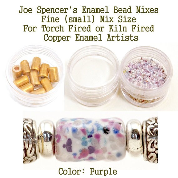 Purple Enamel Bead Frit with base and Hand Cut Copper Beads for metal artist using a torch or kiln