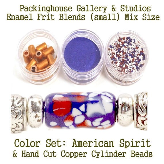American Spirit Enamel Bead Frit with hand made copper cylinder beads for artist using a torch or kiln to create with metals