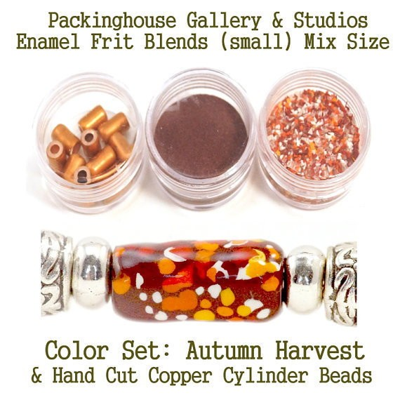 Autumn Harvest Enamel Bead Frit with hand made copper cylinder beads for artist using a torch or kiln to create with metals