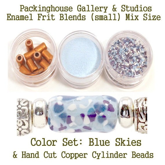 Blue Skys Enamel Bead Frit with hand made copper cylinder beads for artist using a torch or kiln to create with metals