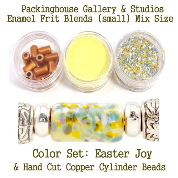 Easter Joy Enamel Bead Frit with hand made copper cylinder beads for artist using a torch or kiln to create with metals