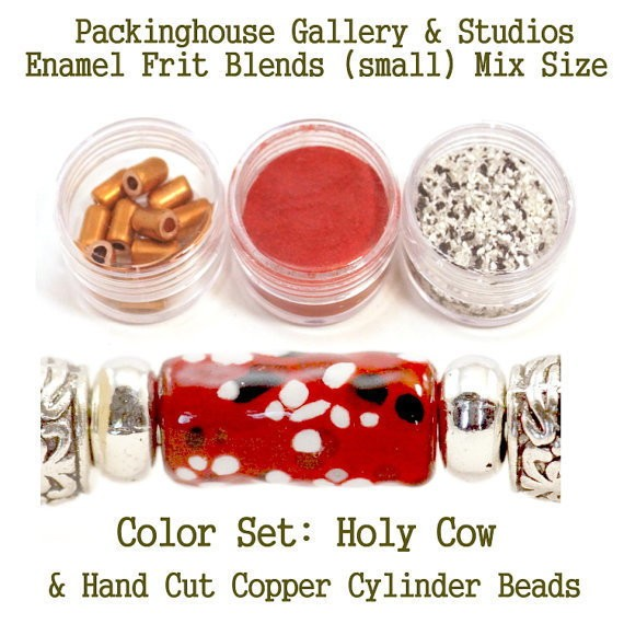 Holy Cow Enamel Bead Frit with hand made copper cylinder beads for artist using a torch or kiln to create with metals