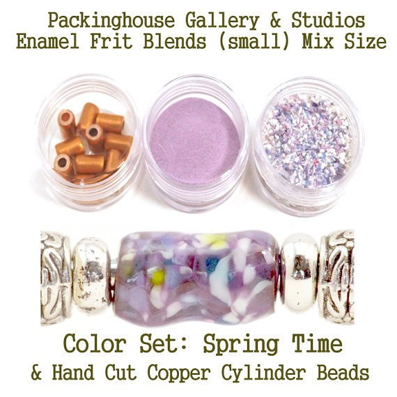 Spring Time Enamel Bead Frit with hand made copper cylinder beads for artist using a torch or kiln to create with metals