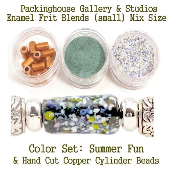 Summer Fun Enamel Bead Frit with hand made copper cylinder beads for artist using a torch or kiln to create with metals